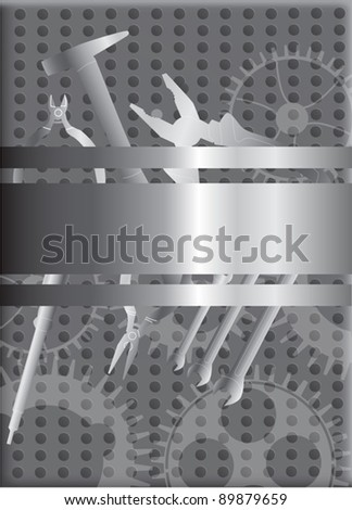 illustration with different tools on metallic background - stock vector