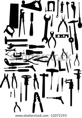 illustration with different tools silhouettes isolated on white background - stock vector