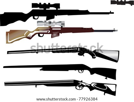 illustration with different weapon on white background - stock vector