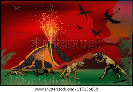 illustration with dinosaurs near volcano - stock vector