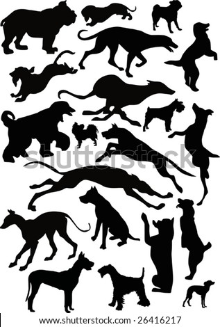 illustration with dog silhouettes isolated on white background - stock vector