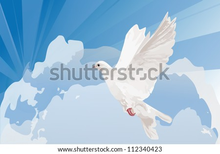 illustration with dove in cloud sky