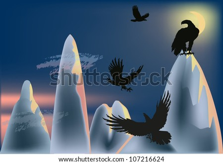 illustration with eagles in mountains at night