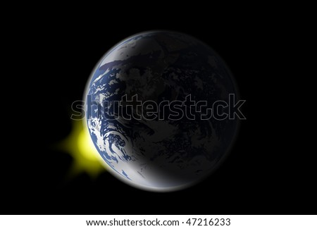 illustration with earth and sun light on black background - stock vector