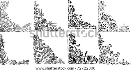 illustration with eight corner decorations on white background - stock vector