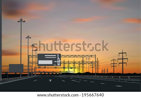 illustration with electric lines across empty street