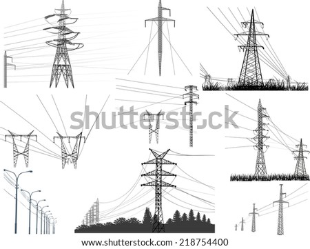 illustration with electric towers collection isolated on white background - stock vector