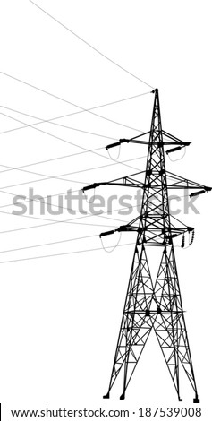 illustration with electrical pylon isolated on white background - stock vector