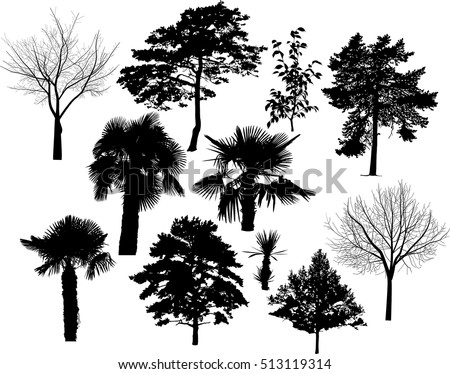 illustration with eleven tree silhouettes isolated on white background