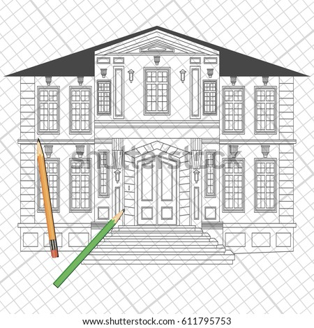 Illustration With Facade Of House Architecture Design Heraldry And Logo Concept Art