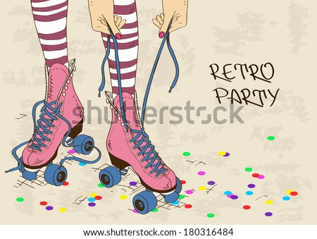 Illustration with female legs in retro roller skates on a grunge background  - stock vector