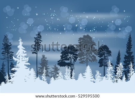 illustration with fir forest under snow at blue background