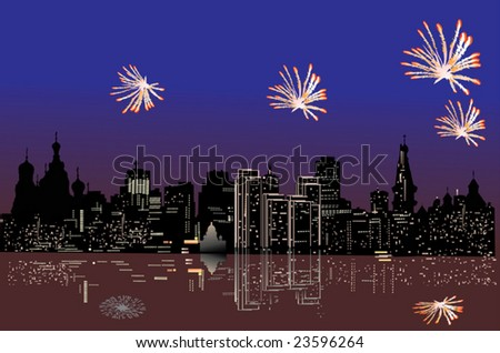 illustration with firework above night city