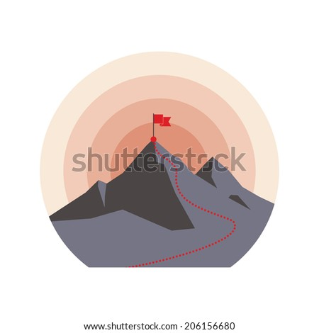 Illustration with flag on the mountain peak, meaning overcoming difficulties, winning strategy. - stock vector