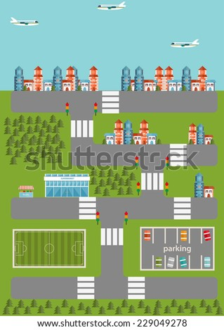 Illustration with flat city infographic - stock vector