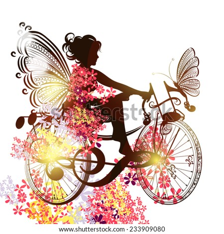 Illustration with floral fairy sit on a abstract bicycle from music notes - stock vector