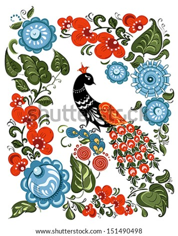 Illustration with flowers and bird in the Russian traditional style (Gorodets) on isolated white background. Vector - stock vector