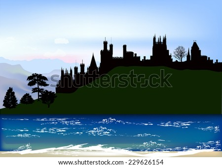 illustration with fortress in mountains near lake - stock vector