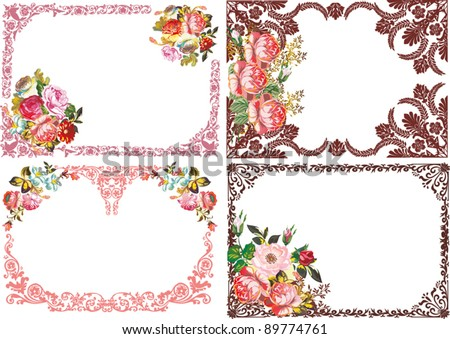 illustration with four beautiful rose flower frames - stock vector