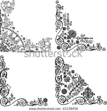 illustration with four corner decorations on white background - stock vector