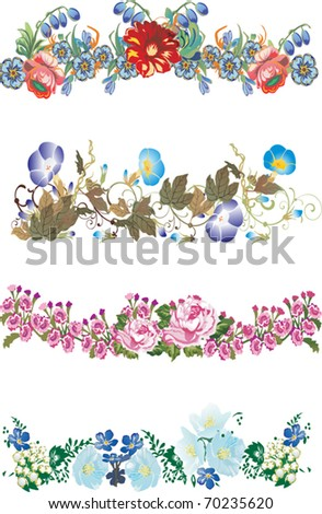 illustration with four floral strips collection - stock vector