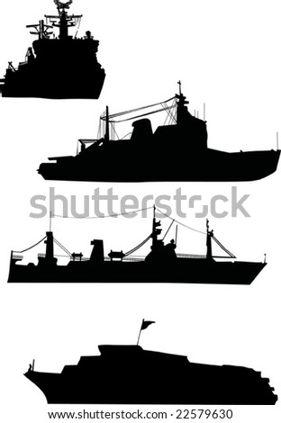 illustration with four ship silhouette collection - stock vector