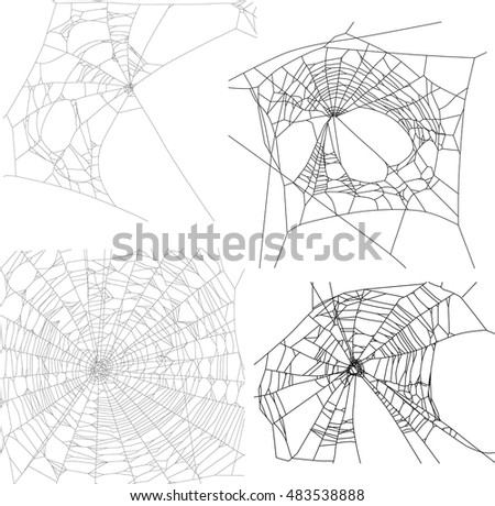 illustration with four spider webs isolated on white background