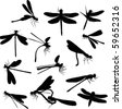 illustration with fourteen dragonfly silhouettes isolated on white - stock vector