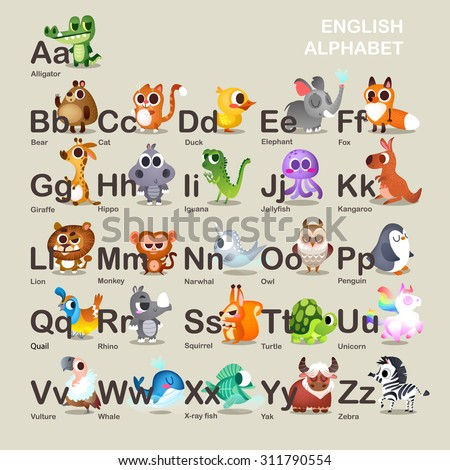 Illustration with funny characters. Children's alphabet.