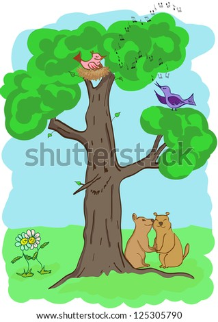 illustration with funny loving animals and flowers.concept of love and kindness