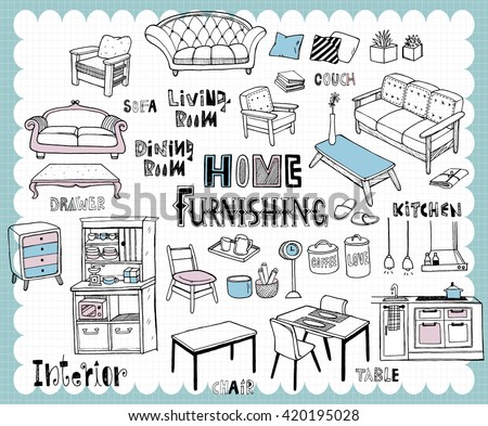 Illustration with furniture for dining and living room related words in hand drawn style on a grid background. All text and illustration is hand-drawn. - stock vector