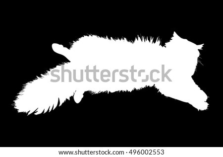 illustration with furry cat isolated on black background