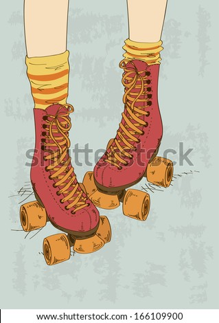Illustration with girl's legs in striped socks and retro roller skates - stock vector