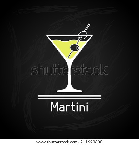 Illustration with glass of martini for menu cover. - stock vector