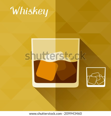 Illustration with glass of whiskey in flat design style. - stock vector