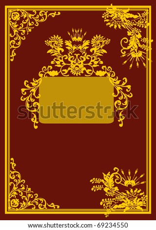 illustration with golden curled frame on dark red background