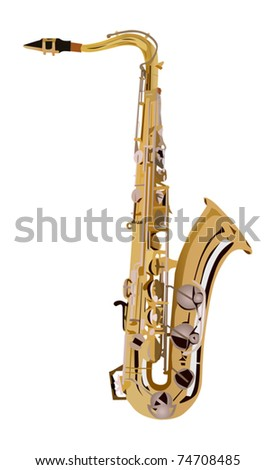 illustration with golden saxophone isolated on white background - stock vector