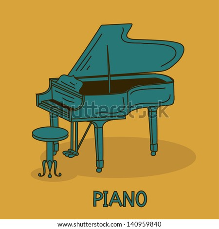 Illustration with grand piano and chair - stock vector