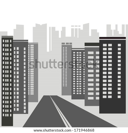 illustration with  gray skyscrapers for your design - stock vector