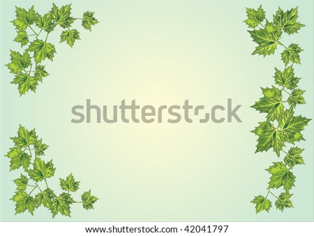 illustration with green foliage frame on light background