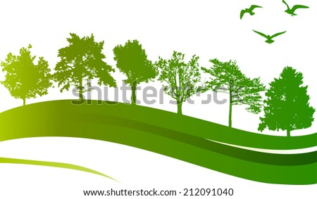 illustration with green trees and birds isolated on white background - stock vector