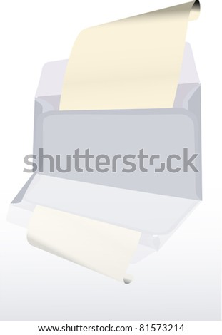 illustration with grey envelope isolated on white background