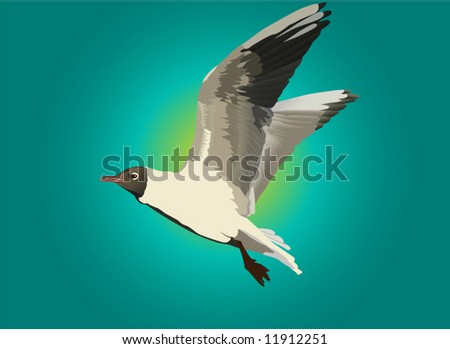 illustration with gull and blue sky - stock vector
