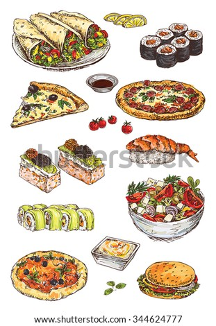 illustration with hand drawing set of pizza, sushi and sandwich