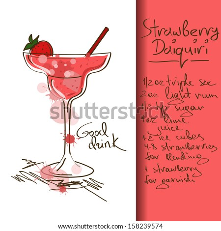 Illustration with hand drawn Strawberry Daiquiri cocktail - stock vector