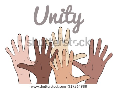 Illustration with hands of people of different nationalities on  theme of the unity of  peoples - stock vector