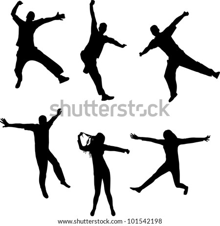 illustration with happy people silhouettes isolated on white background - stock vector