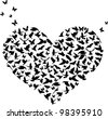 illustration with heart shape symbol formed from butterflies and birds - stock vector