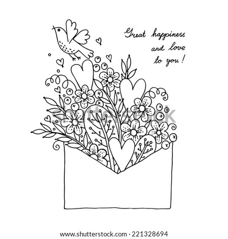 Illustration with hearts, bird and flowers. Vector illustration. - stock vector