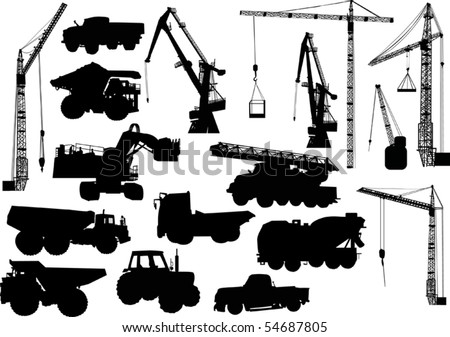 illustration with heavy machinery silhouettes isolated on white background - stock vector
